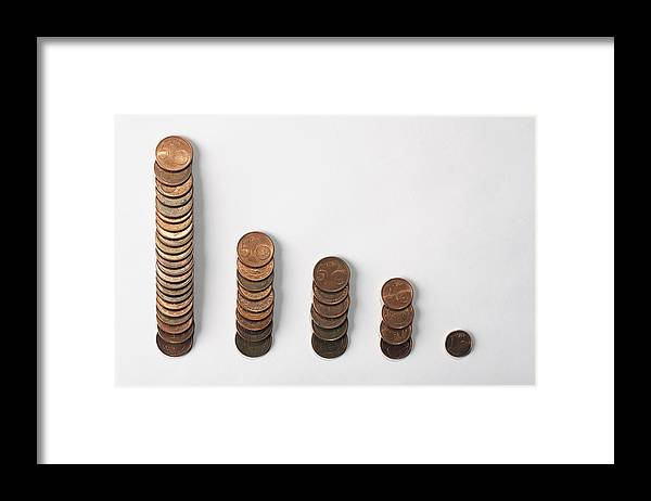 Horizontal Framed Print featuring the photograph Five Rows Of Euro Coins Decreasing In Size by Larry Washburn