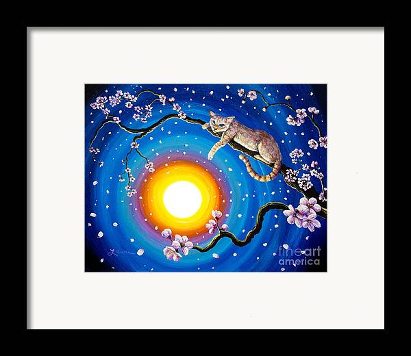 Flame Point Framed Print featuring the painting Flame Point Siamese Cat In Cherry Blossoms by Laura Iverson