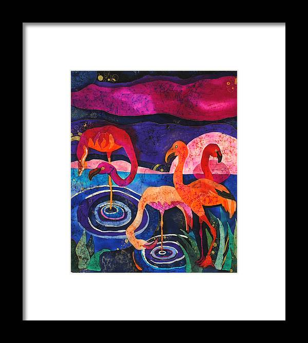 Silk Framed Print featuring the tapestry - textile Flamingos by Sandra Kern