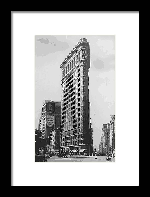 Digital Painting Framed Print featuring the photograph Flatiron Building Bw16 by Scott Kelley