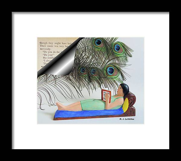 Peacock Framed Print featuring the digital art Flight through written words by Roland LaVallee