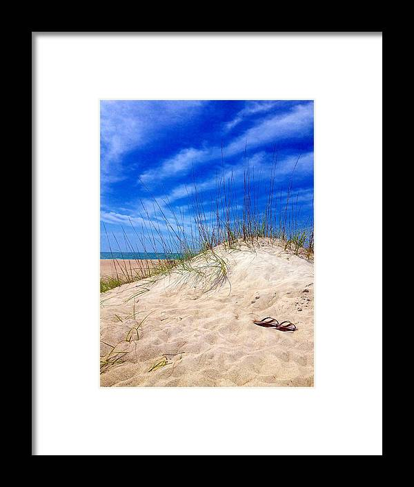 Sky Framed Print featuring the photograph Flip Flops In The Sand by Joan Meyland