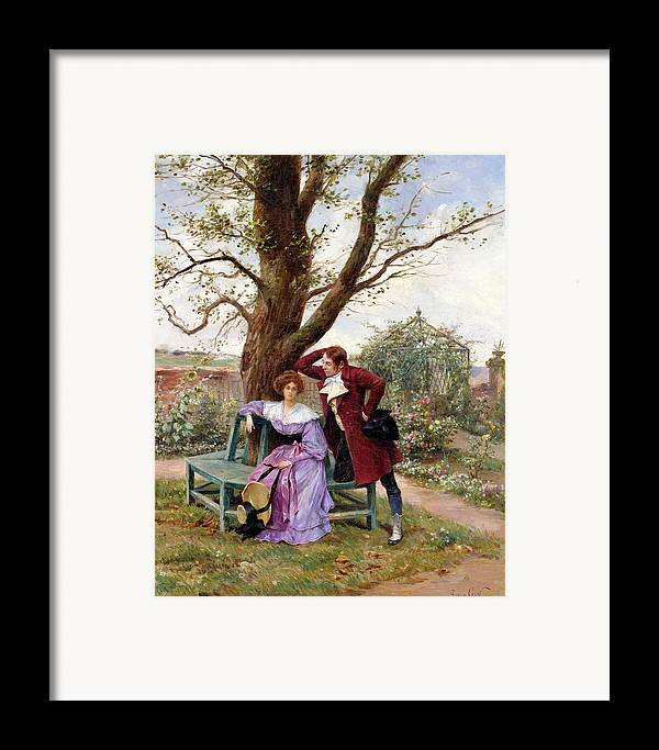Courting; Garden Scene; Courtship; Love; Conversation; Gazebo; Victorian Framed Print featuring the painting Flirtation by Georges Jules Auguste Cain