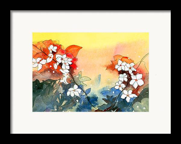 House Framed Print featuring the painting Floral Neklace by Anil Nene