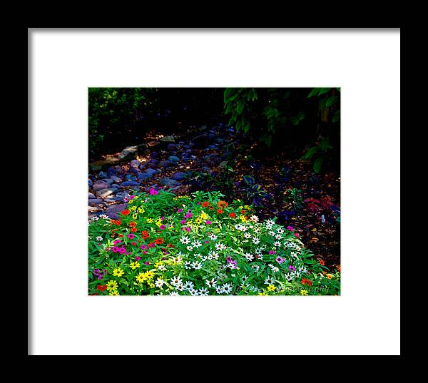 Landscape Framed Print featuring the photograph Floral Path by Jan Davis