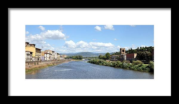 Arno River Framed Print featuring the photograph Florence Italy Arno River by Allan Rothman