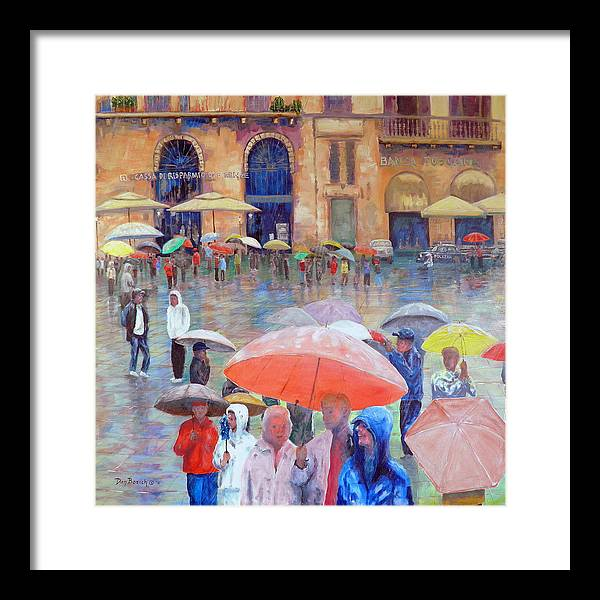 Umbrellas Framed Print featuring the painting Florence Spring by Dan Bozich