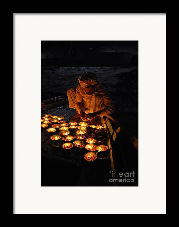 India Framed Print featuring the photograph Flower Ceremony On The Ganges River by Jen Bodendorfer
