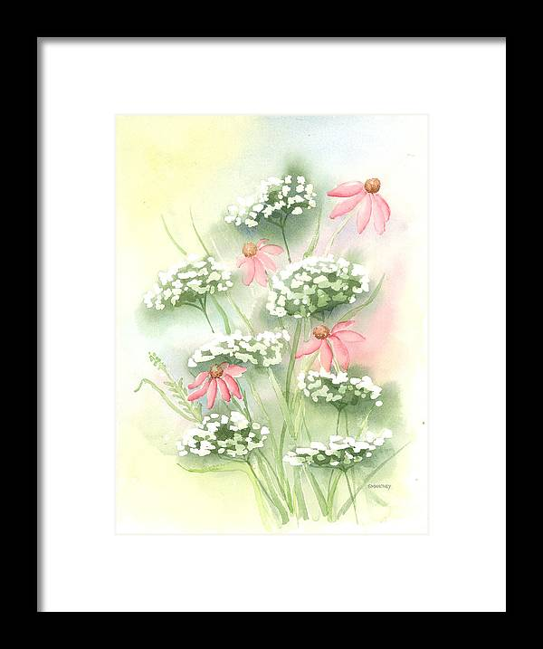 Cone Flowers Framed Print featuring the painting Flowers and Lace by Susan Mahoney