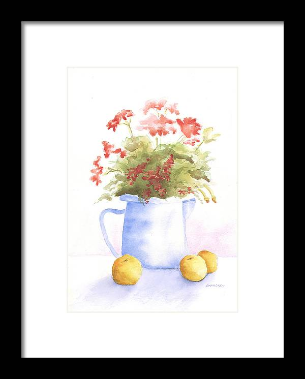 Flowers Framed Print featuring the painting Flowers and Lemons by Susan Mahoney