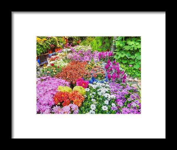 Flowers Framed Print featuring the photograph Flowers At Market by Michael Garyet