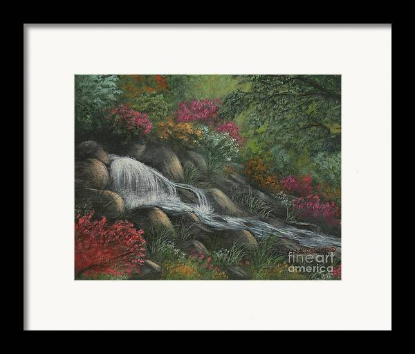 Landscape Framed Print featuring the painting Flowing Waters by Kristi Roberts
