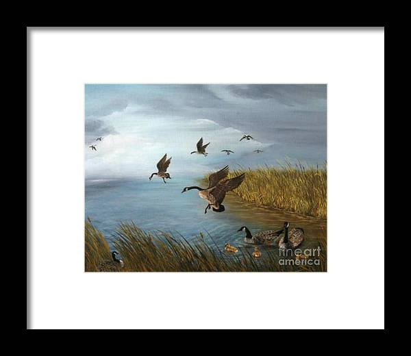 Oil Framed Print featuring the painting Flying Geese by Patricia Lang
