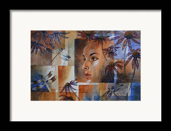 Spiritual Portrait Of Woman Framed Print featuring the painting Flying Woman by Patsy Sharpe