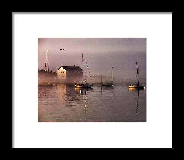 722f44112d0 Harbor Framed Print featuring the photograph Foggy Harbor Morning by  Matthew Winn