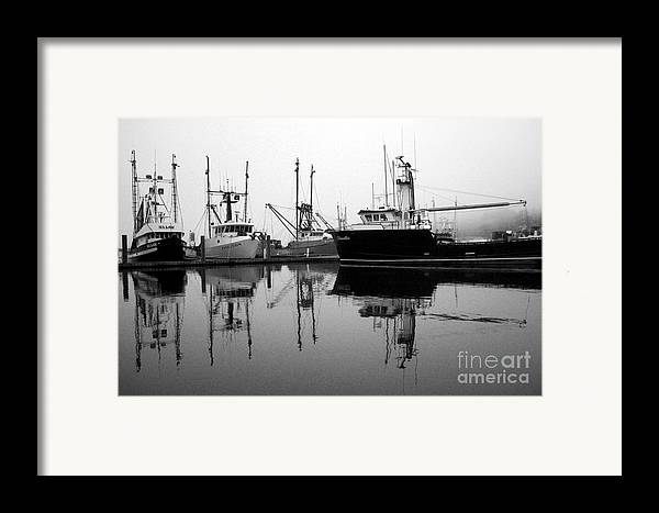 Fog Framed Print featuring the photograph Foggy Reflections Bw by Kami McKeon