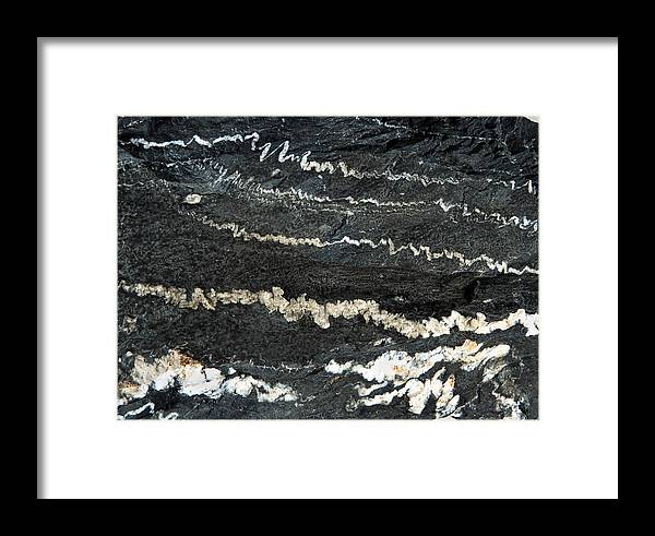 Limestone Framed Print featuring the photograph Folds Of Calcite In Limestone Rock by Dirk Wiersma
