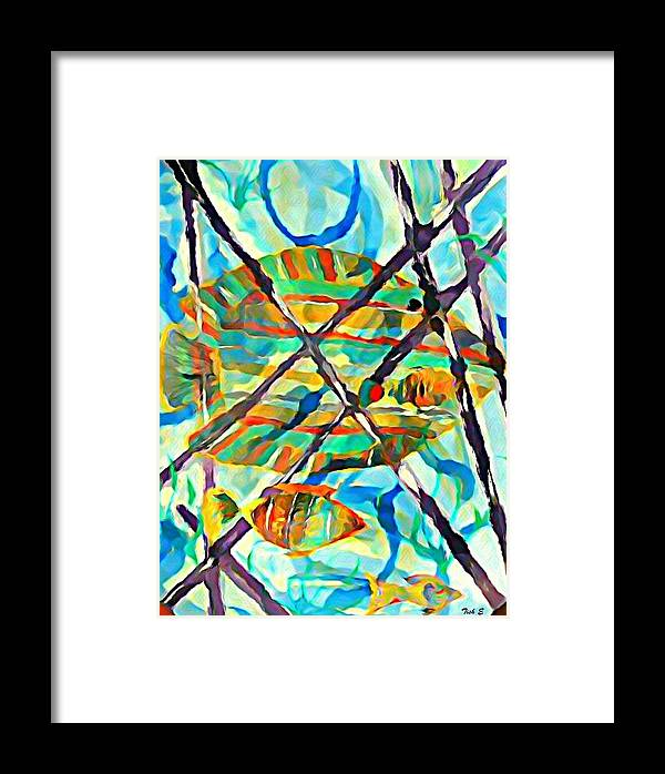 Multi Colored Fish Framed Print featuring the painting Follow Me by Tish Eggleston