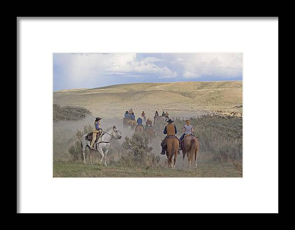 Cowboys Framed Print featuring the photograph Following The Herd by Judy Deist