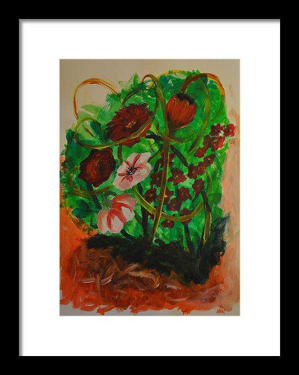 Flowers Framed Print featuring the painting Folwers by Valeria Giunta
