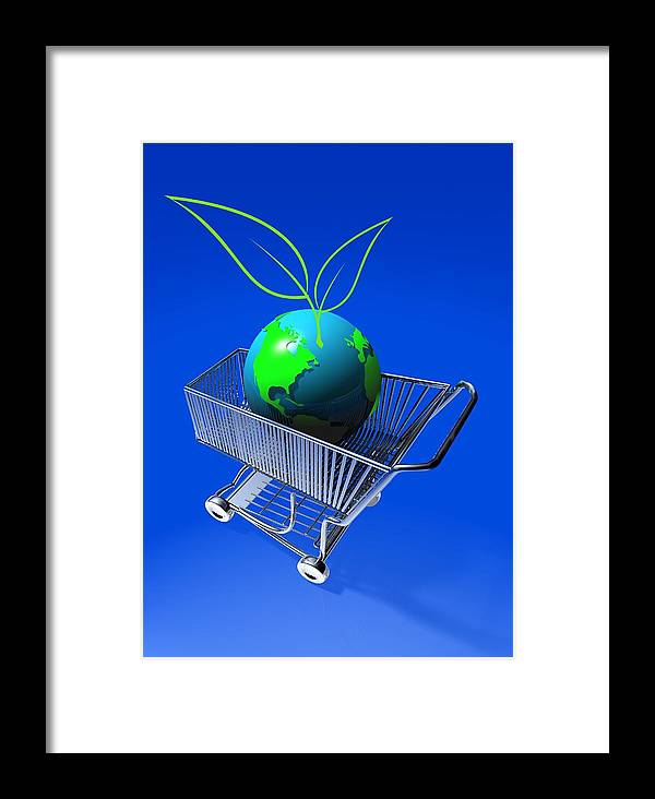 Blue Background Framed Print featuring the photograph Food Miles, Conceptual Artwork by Victor Habbick Visions