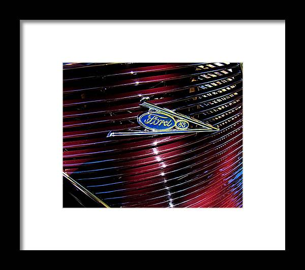 Ford Framed Print featuring the photograph Ford Model 85 Emblem by Nick Kloepping