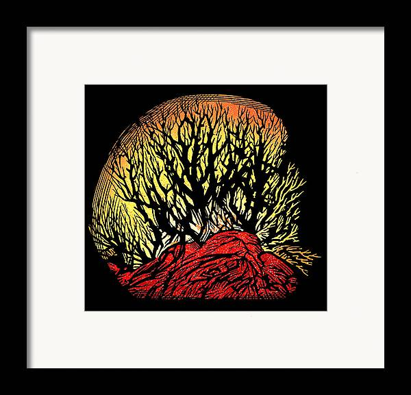 Tree Framed Print featuring the photograph Forest Fire, Lino Print by Gary Hincks