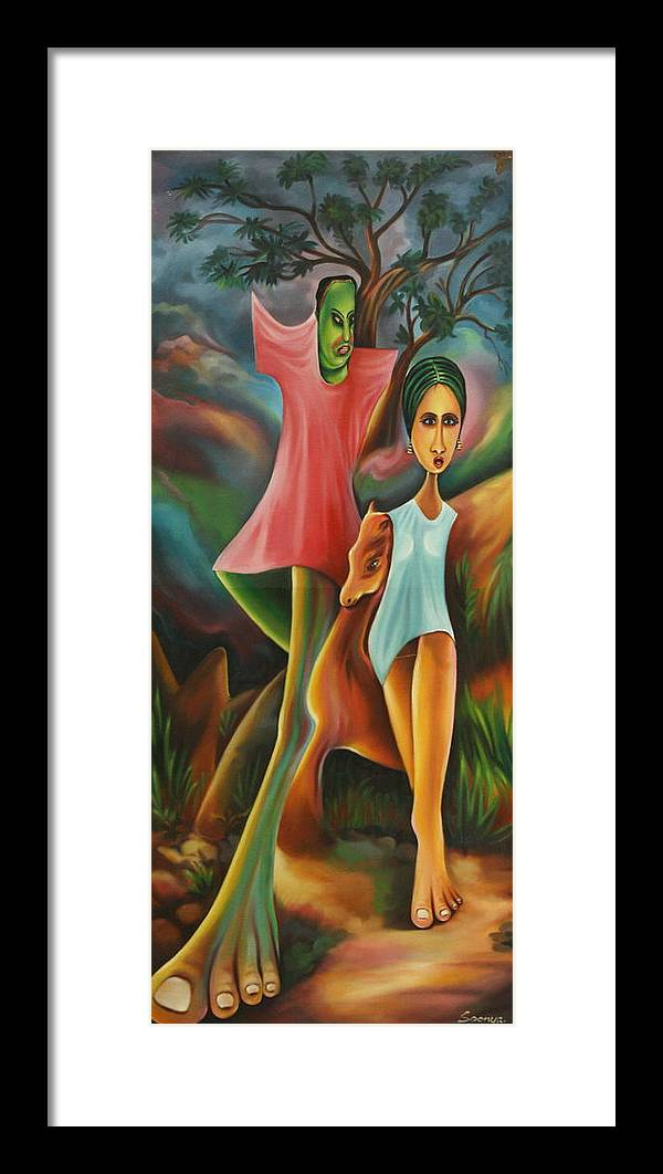 Leaves Framed Print featuring the painting Forsaken Mind by Soonya Arts