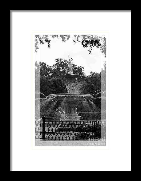 Forsyth Park Framed Print featuring the photograph Forsyth Park Fountain - Black And White by Carol Groenen