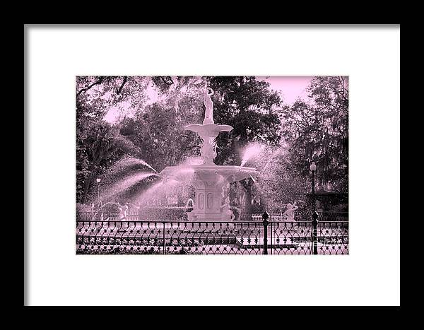 Forsyth Park Framed Print featuring the photograph Forsyth Park Fountain In Pink by Carol Groenen