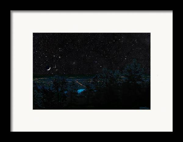 Fort Collins Framed Print featuring the photograph Fort Collins Colorado At Night by Ric Soulen