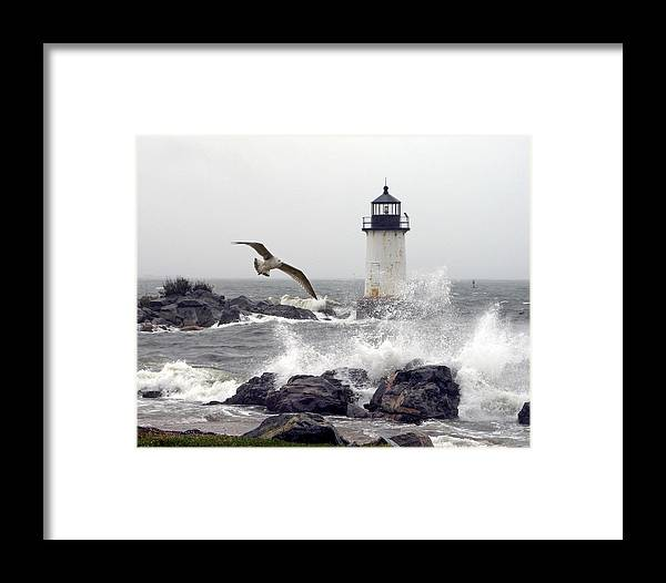 Splash Framed Print featuring the photograph Fort Pickering Lighthouse Salem Ma by Len Burgess