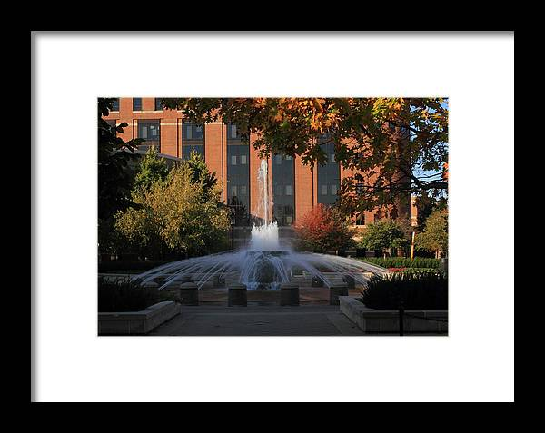 Purdue Framed Print featuring the photograph Fountain At Sunset by Coby Cooper