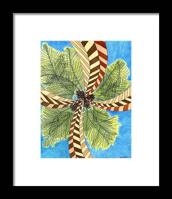 Palm Framed Print featuring the drawing Four Palms by Lesa Weller