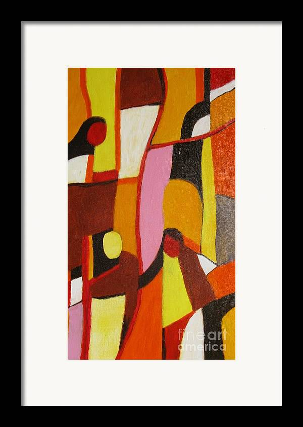 Semi Abstract Framed Print featuring the painting Four Women by Nedunseralathan R