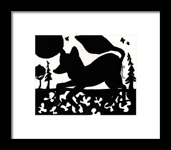 Fox Framed Print featuring the painting Fox At Night In Clover Patch by Janel Bragg