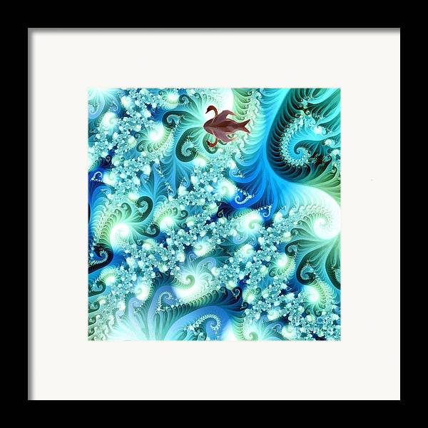 Abstract Framed Print featuring the digital art Fractal And Swan by Odon Czintos