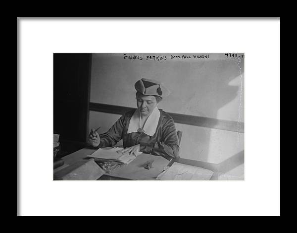 Us Presidents Framed Print featuring the photograph Frances Perkins 1882-1965, U.s by Everett