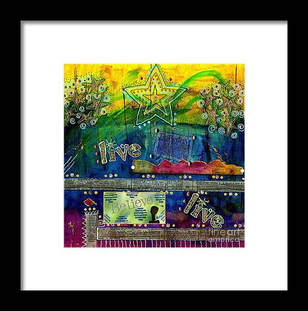 Woman Framed Print featuring the mixed media Freedom To Believe - Freedom To Live by Angela L Walker