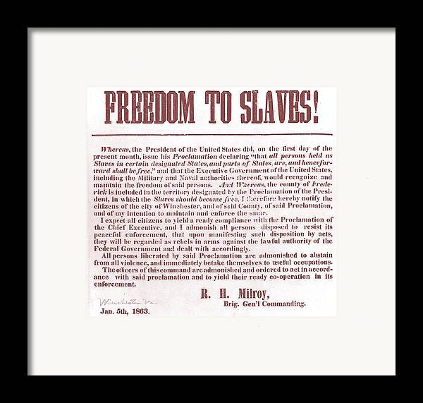 Abolition Framed Print featuring the photograph Freedom To Slaves by Photo Researchers, Inc.