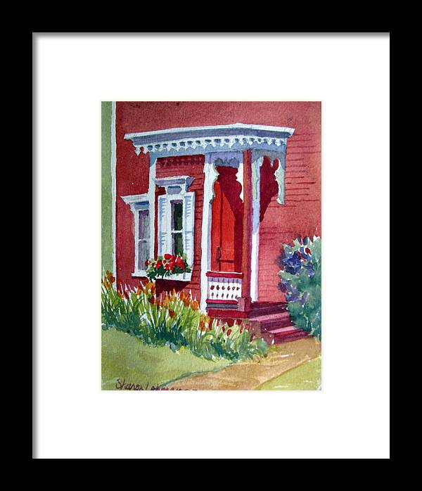 Red Framed Print featuring the painting Fresh Paint by Sharon Lehman