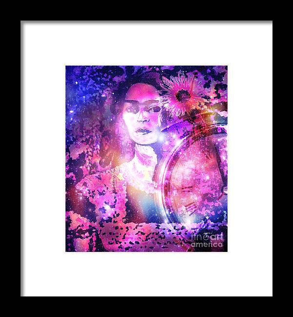 Fania Simon Framed Print featuring the mixed media Frida In Pink by Fania Simon