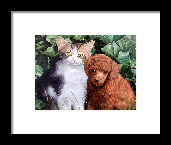Cats Framed Print featuring the painting Friends by Tioga Parker