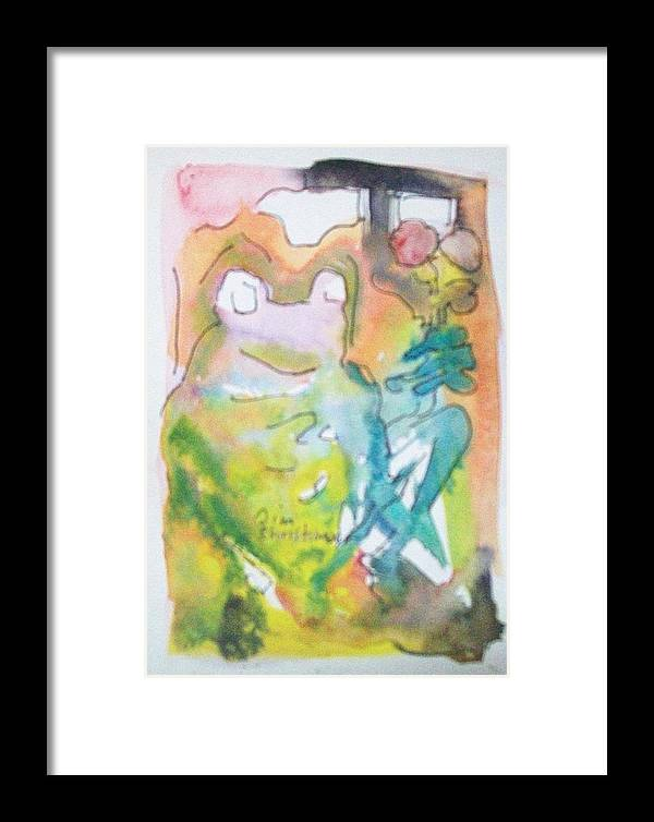 Frog Framed Print featuring the painting Frog With Fresh Flowers by James Christiansen
