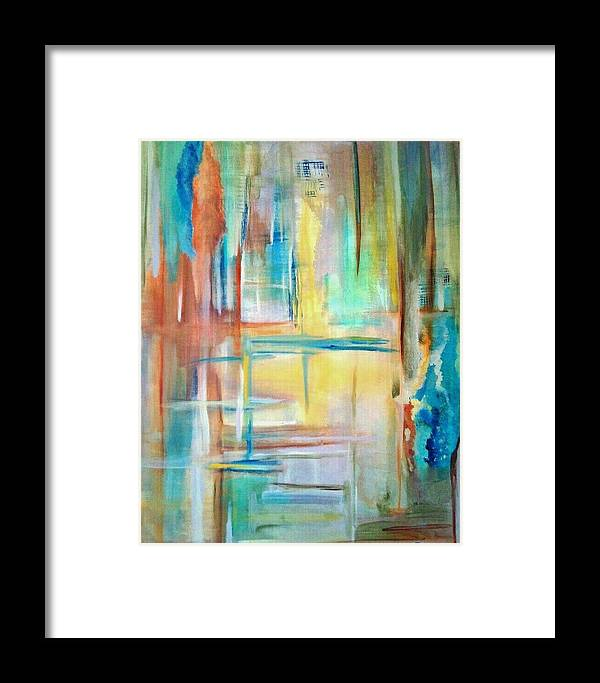 Acrylics Framed Print featuring the painting From Dusk To Dawn by Derya Aktas