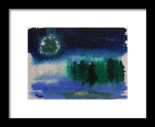 Abstract Moon Framed Print featuring the painting Frosty Moon by Mary Carol Williams
