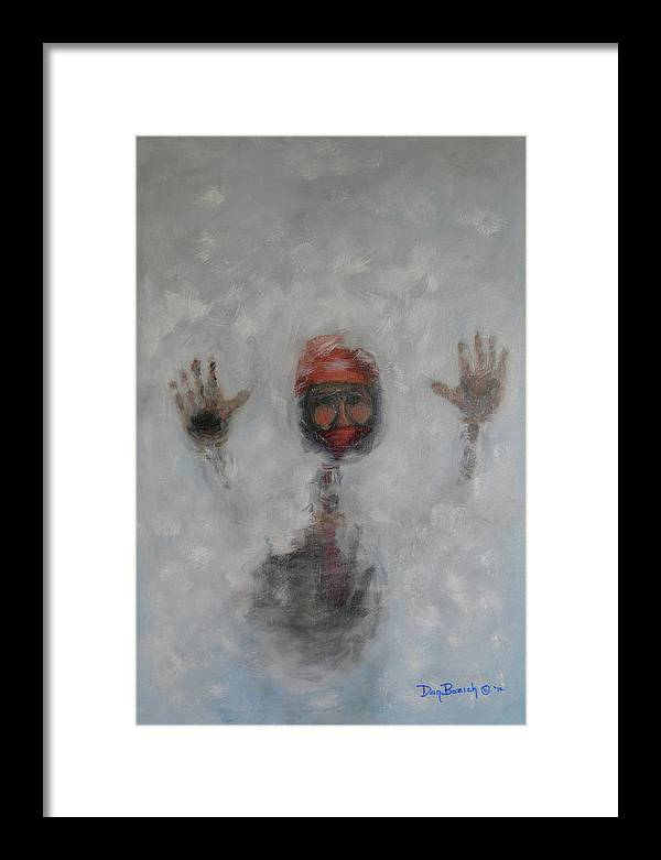 Winter Framed Print featuring the painting Frosty Window by Dan Bozich