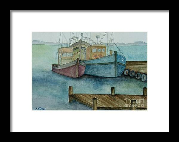 Fishing Boats Framed Print featuring the painting Frozen In Time by Caroline Street
