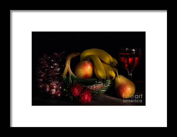 Fruit Framed Print featuring the photograph Fruit Still Life With Wine by Ann Garrett