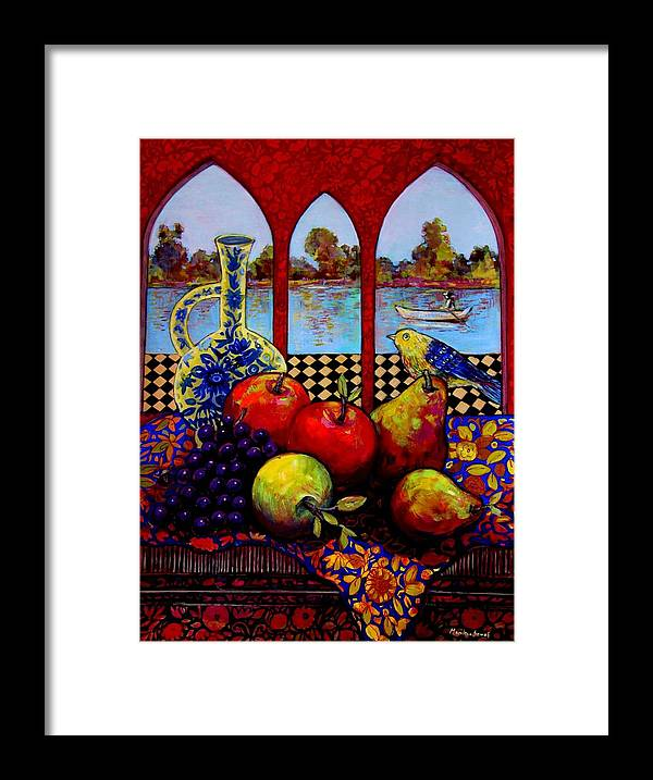 Venice Framed Print featuring the painting Fruits And River by Marilene Sawaf